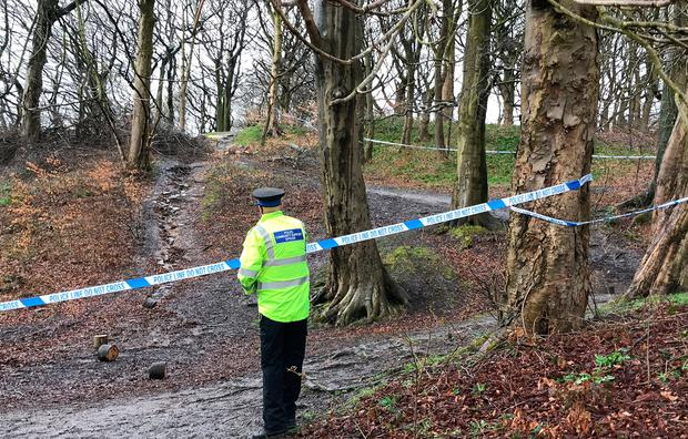 Police at the scene in Roch Valley Woods in Heywood, Greater Manchester, after the body of a newborn baby was found. Photo: Pat Hurst/PA Wire
