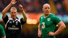 14 March 2015; Paul O'Connell, Ireland, with match referee Wayne Barnes. RBS Six Nations Rugby Championship, Wales v Ireland, Millennium Stadium, Cardiff, Wales. Picture credit: Stephen McCarthy / SPORTSFILE