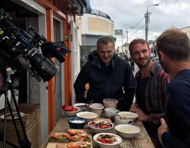 Phil Rosenthal filming with The Happy Pear twins.  PIC: The Happy Pear/Twitter