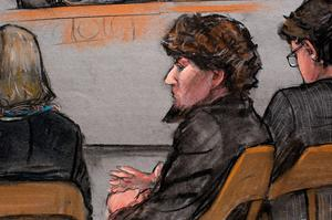 A courtroom sketch shows accused Boston Marathon bomber Dzhokhar Tsarnaev during closing arguments in his trial at the federal courthouse in Boston, Massachusetts, on Monday (REUTERS/Jane Flavell Collins)