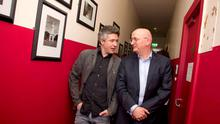 Love Hate actor Aidan Gillen and the author behind it all Roddy Doyle backstage at the interval at Barrytown Meets Musictown at Vicar street; a celebration the renowned Barrytown trilogy