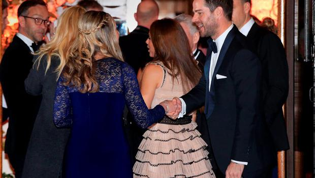 Jamie Redknapp (right) at the wedding of Christine Bleakley and Frank Lampard at St Paul's Church in Knightsbridge, London