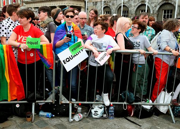 People gather at the Central Count Centre in Dublin Castle, Dublin, after Zappone proposed live on TV as votes are continued to be counted in the referendum on same-sex marriage.   Brian Lawless/PA Wire