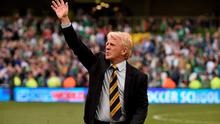 Scotland manager Gordon Strachan waves to his supporters after the game