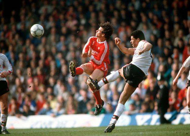 Paul McGrath (inset) playing in a Liverpool-Manchester United showdown. Photo: Bob Thomas/Getty Images