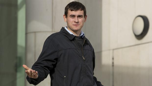 05/02/20 Shane Halpin (25), of Fouillard Lane, Lusk, Co. Dublin, leaving court after his case. PIC: Collins Courts