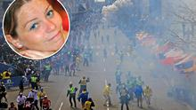 People react as an explosion goes off near the finish line of the 2013 Boston Marathon in Boston. Inset: Krystle Campbell who died in the bombings