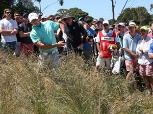 Rory McIlroy is unable to lift his ball out of the thick tussocks in the rough on the 9th hole during the third round of the Australian Open Golf championship in Sydney