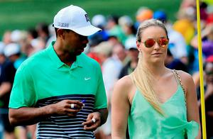 Tiger Woods and Lindsey Vonn at the US Masters in Augusta in April