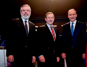 Sinn Fein Leader Gerry Adams,Taoiseach Enda Kenny and Fianna Fail Leader Micheal Martin