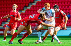 Peter Nelson, Ulster, is tackled by Aled Thomas, Scarlets