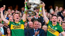 21 September 2014; Kerry joint captains Fionn Fitzgerald, left, and Kieran O'Leary lift the Sam Maguire cup. GAA Football All Ireland Senior Championship Final, Kerry v Donegal. Croke Park, Dublin. Picture credit: Pat Murphy / SPORTSFILE