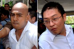 """Australians Myuran Sukumaran (L) and Andrew Chan (R), the two ringleaders of the """"Bali Nine"""" drug ring, being escorted out of a court after their verdict in Denpasar on Bali island. Photo: AFP/Getty Images"""