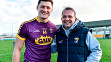 Wexford manager Davy Fitzgerald celebrates with Lee Chin