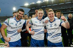 Neil McAdam, Colin Walshe and Dermot Malone, Monaghan celebrate after the game