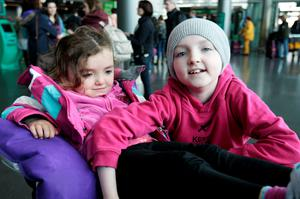 Ten year old Robyn Smyth with  her sister Millie (3) at Dublin Airport