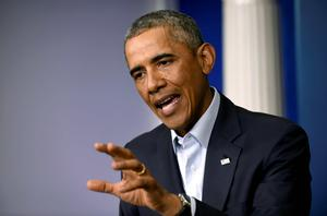 President Barack Obama speaks in the James Brady Press Briefing Room in the White House in Washington. AP