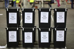 Ballot boxes wait to be opened at a counting centre in Edinburgh, Scotland,  September 18, 2014.