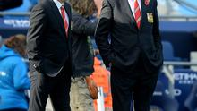Manchester United manager Louis van Gaal (right) before the Barclays Premier League match at the Etihad Stadium, Manchester. PRESS ASSOCIATION Photo. Picture date: Sunday November 2nd, 2014. See PA story SOCCER Man City. Photo credit should read Martin Rickett/PA Wire. Editorial use only. Maximum 45 images during a match. No video emulation or promotion as 'live'. No use in games, competitions, merchandise, betting or single club/player services. No use with unofficial audio, video, data, fixtures or club/league logos.