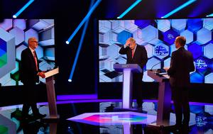 UK Prime Minister Boris Johnson (centre) and Labour leader Jeremy Corbyn (left) going head to head in the BBC Election Debate Photo credit: Jeff Overs/BBC/PA Wire