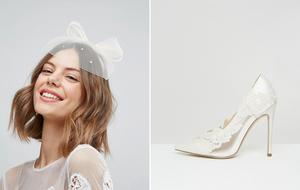 Left: Occasion sequin bow fascinator €20.27 | Right: Pure lace bridal heels €60.81