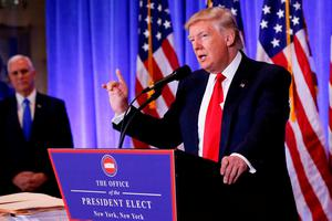 US president-elect Donald Trump speaks during a press conference in Trump Tower, New York, yesterday. Photo: REUTERS/Shannon Stapleton