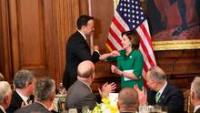 Greetings: Nancy Pelosi welcomes Leo Varadkar with an elbow bump rather than a handshake on Capitol Hill in Washington. Photo: Niall Carson/PA Wire