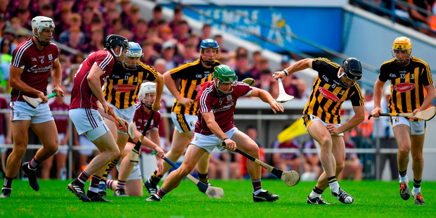 David Burke of Galway in action against Conor Fogarty of Kilkenny. Photo by Brendan Moran/Sportsfile