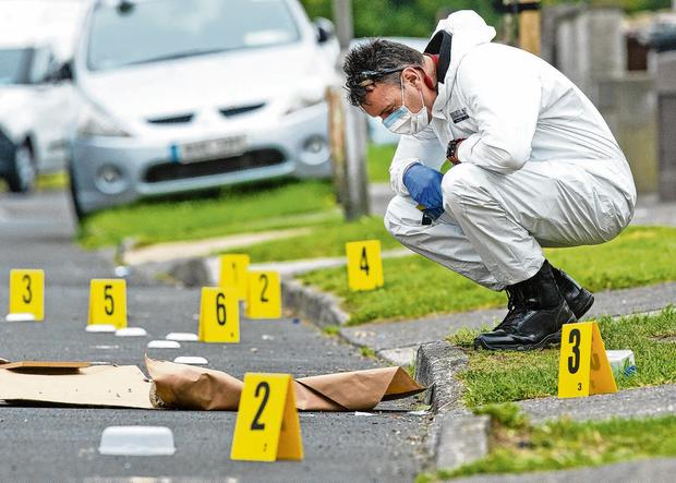 Forensic officers examine evidence at the scene. Photo: Gerry Mooney