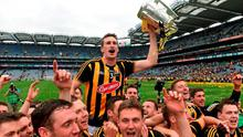 Kilkenny captain Joey Holden celebrates with the cup and his team-mates after the game. GAA Hurling All-Ireland Senior Championship Final, Kilkenny v Galway, Croke Park, Dublin