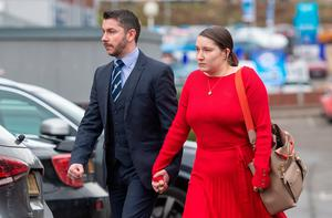 Nathan Rowe (left) and Chloe Littleboy arrive for the inquest into the death of their daughter Ava-May Littleboy Photo credit: Joe Giddens/PA Wire