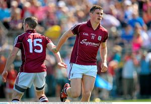 3 May 2015;  Shane Walsh, Galway,  celebrates after scoreing a goal against New York. Connacht GAA Football Senior Championship, Preliminary Round, New York v Galway. Gaelic Park, New York, USA. Picture credit: Ray Ryan / SPORTSFILE