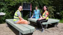 Marie McCallion with Blackrock Tidy Towns junior members Oisín Farrell and Saorla Sharkey in the newly renovated outdoor classroom in Blackrock Park. Picture Ken Finegan/Newspics