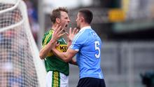 Kerry forward Donnchadh Walsh and Dublin defender James McCarthy go head to head during the 2017 National League final. Photo by Stephen McCarthy/Sportsfile