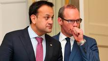 At odds: Leo Varadkar and Simon Coveney have radically different views on the future of Fine Gael. Photo: Collins Dublin.