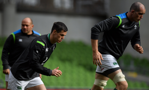 Jonathan Sexton, right, and Devin Toner during the Ireland rugby squad captain's run at the Aviva Stadium in Dublin. Photo by Brendan Moran/Sportsfile