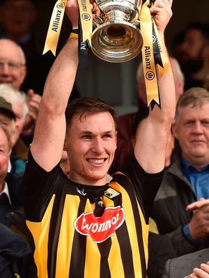 Kilkenny captain Cillian Buckley lifts the cup after the 2018 NHL final. Photo: Sportsfile