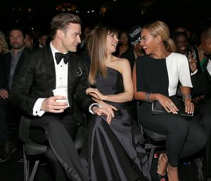 (L-R) Justin Timberlake, Jessica Biel and Beyonce Knowles attend the 55th Annual GRAMMY Awards at STAPLES Center on February 10, 2013 in Los Angeles, California.  (Photo by Christopher Polk/Getty Images for NARAS)
