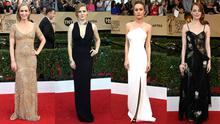25 Best and Worst Dressed at the SAG Awards. (L-R) Emily Blunt, Amy Adams, Brie Larson, Emma Stone