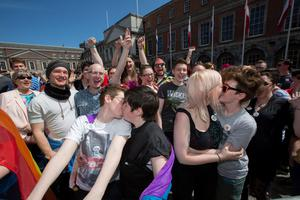 Thousands gather at the reults of same-sex marriage referendum at Dublin Castle. Pic:Mark Condren