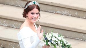 Princess Eugenie of York arrives to be wed to Mr. Jack Brooksbank at St. George's Chapel on October 12, 2018 in Windsor, England. (Photo by Andrew Matthews - WPA Pool/Getty Images)
