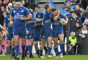 Ian Madigan is congratulated by team-mate Luke Fitzgerald after scoring Leinster's first try of their Guinness Pro12 clash with Ulster at the RDS. Photo: Cody Glenn / SPORTSFILE