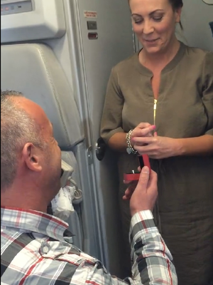 The happy Irish man proposed on a flight from Cork to Lanzarote