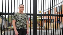 Shauna McCallum, pictured outside a family hub, has been living in emergency accommodation since September 2017 Photo: Johnny Brew