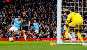 Manchester City's Gabriel Jesus scores their first goal. Photo: Jason Cairnduff/Action Images via Reuters