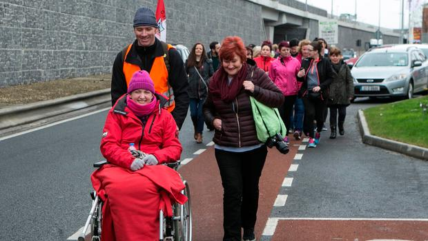 Vera Twomey on her walk from cork in support of her Daughter Ava. She is pictured arriving on the outskirts of Dublin City at Newlands Cross.