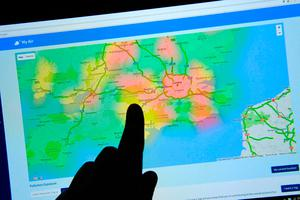 The CleanSpace website shows wide areas of the highest indicator of pollution across London Credit: Victoria Jones/PA Wire