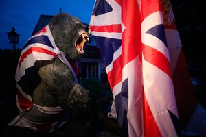A plastic gorilla is wrapped in Union flag by a bonfire on Belfast's Shankill Road as bonfires were set to be lit at midnight, as part of a loyalist tradition to mark the anniversary of the Protestant King William's victory over the Catholic King James at the Battle of the Boyne in 1690. Photo credit: Niall Carson/PA Wire