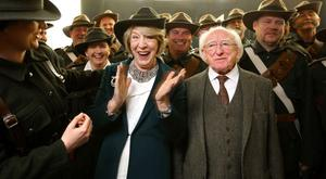 First lady Sabina Higgins shows her delight after she was presented with an Irish Citizen army hat at a memorial ceremony for James Connolly. Gerry Mooney, Independent News & Media
