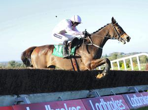 Vautour and Ruby Walsh Make All the running to win the Irish Stallion Farms EBF Beginners Steeplechase In Good Style